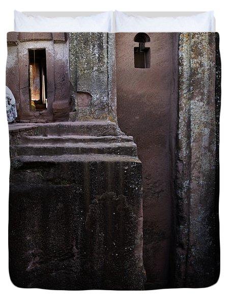 Woman In Lalibella Ethiopia Rock African Coptic Churches Duvet Cover