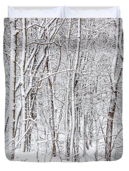 Woman In A Snow Covered Forest Duvet Cover