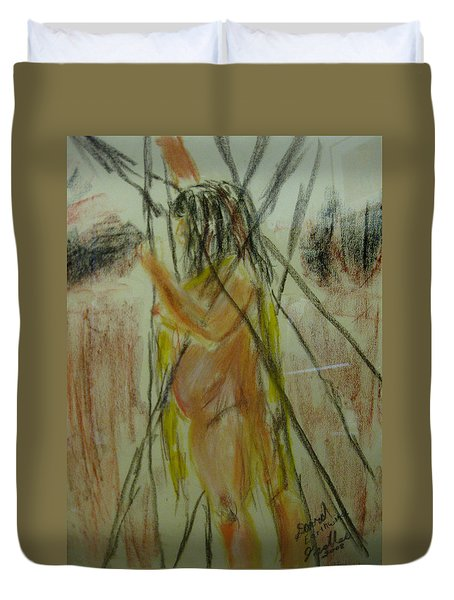 Woman In Sticks Duvet Cover by David Trotter