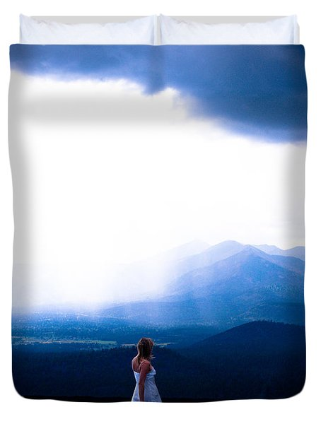 Woman In Storm Duvet Cover by Scott Sawyer