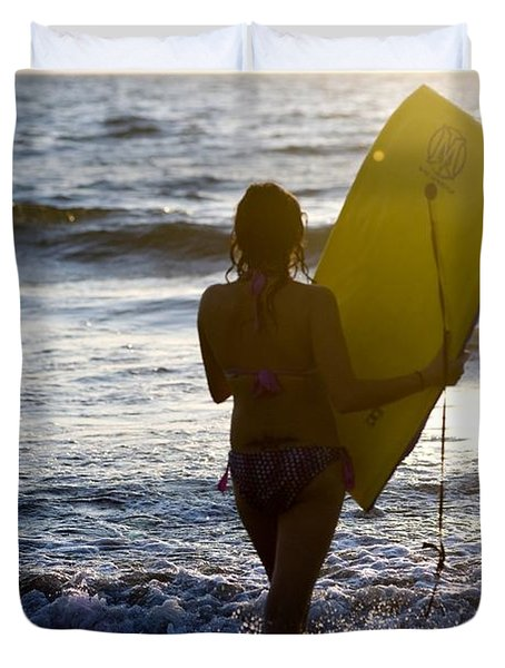 Woman On Beach Carrying Bodyboard Duvet Cover