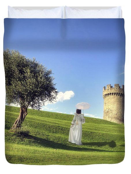 Woman On Meadow Duvet Cover by Joana Kruse
