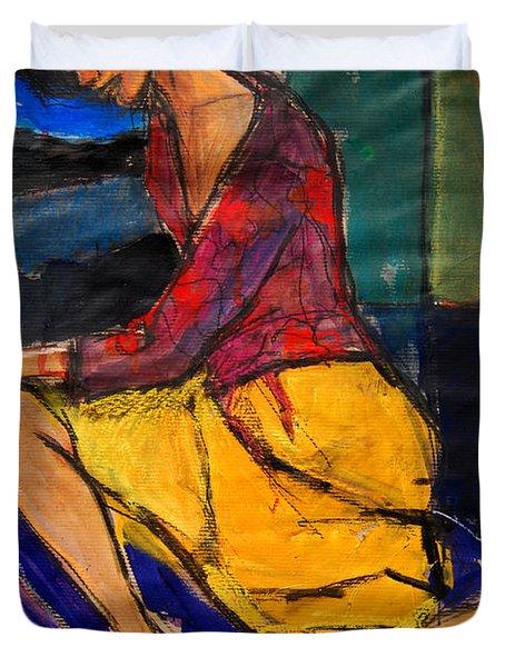 Woman On Purple Pillow - Pia #3 - Figure Series Duvet Cover