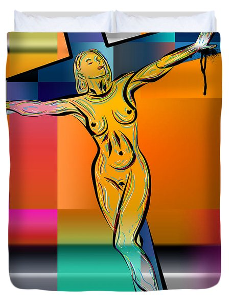 Woman On The Cross Duvet Cover by Mark Ashkenazi