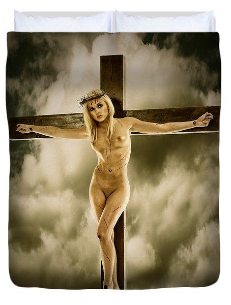 Woman On The Cross Duvet Cover