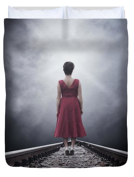 Woman On Tracks Duvet Cover by Joana Kruse