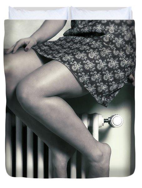 Woman On Window Sill Duvet Cover by Joana Kruse