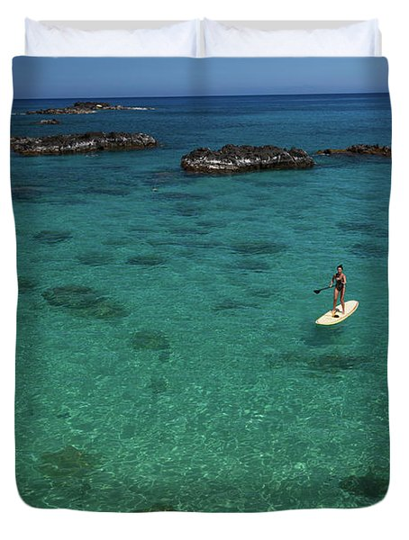 Woman Paddle Boarding In Ocean, Hawaii Duvet Cover
