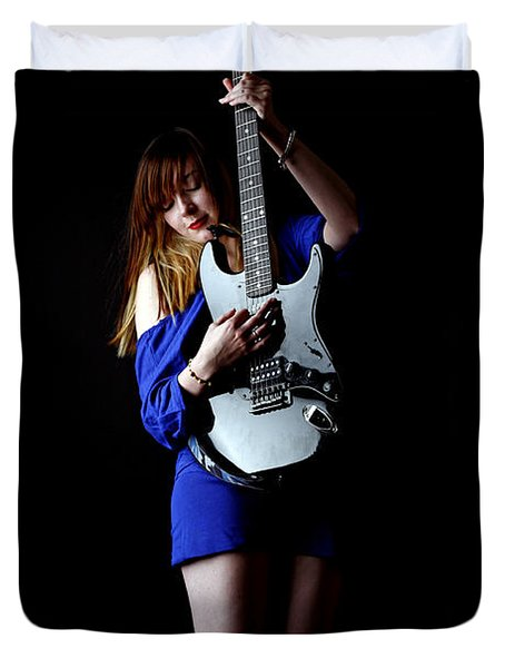 Woman Playing Lead Guitar Duvet Cover