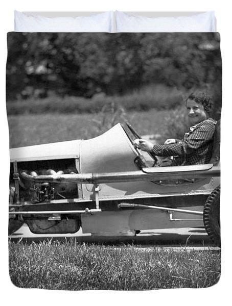 Woman Race Car Driver Duvet Cover