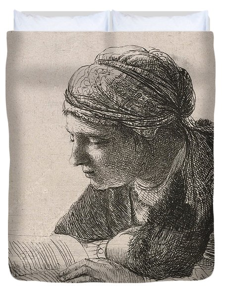 Woman Reading Duvet Cover by Rembrandt