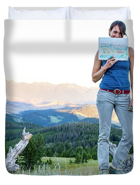 Woman Shows Off Her Mountain Drawing Duvet Cover