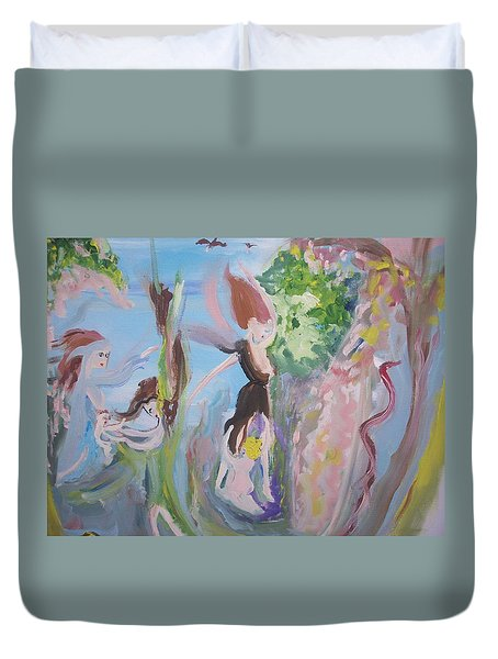 Woman The Nurturer Duvet Cover by Judith Desrosiers