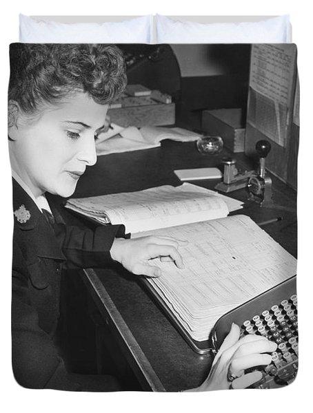 Woman Using Rotary Calculator Duvet Cover