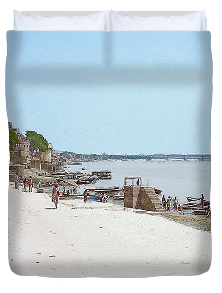Woman Walking Along The Ganges River Duvet Cover