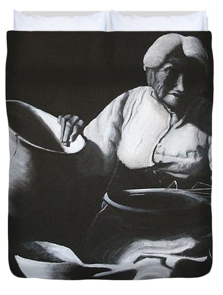 Woman Weaving A Basket Duvet Cover