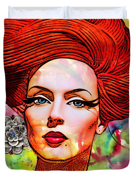 Woman With Earring Duvet Cover by Chuck Staley