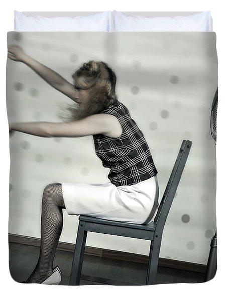 Woman With Fan Duvet Cover by Joana Kruse