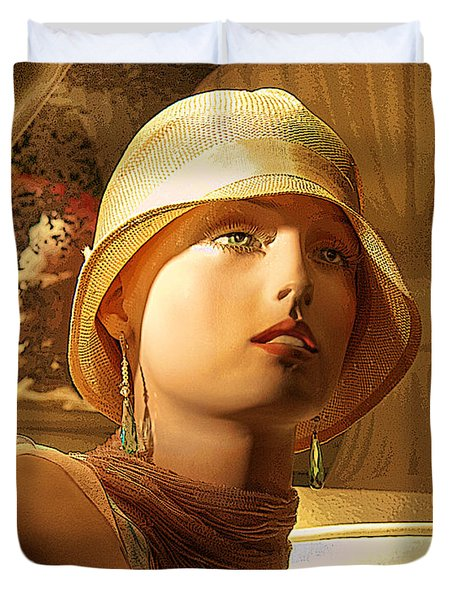 Woman With Hat - Chuck Staley Duvet Cover