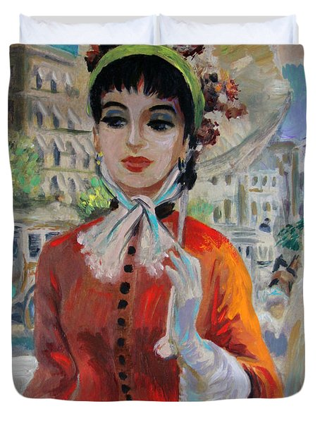 Woman With Parasol In Paris Duvet Cover