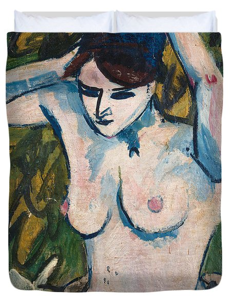 Woman With Raised Arms Duvet Cover by Ernst Ludwig Kirchner