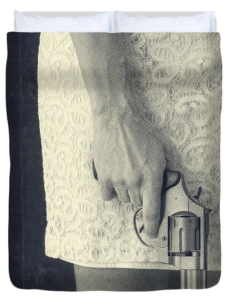 Woman With Revolver Duvet Cover by Edward Fielding