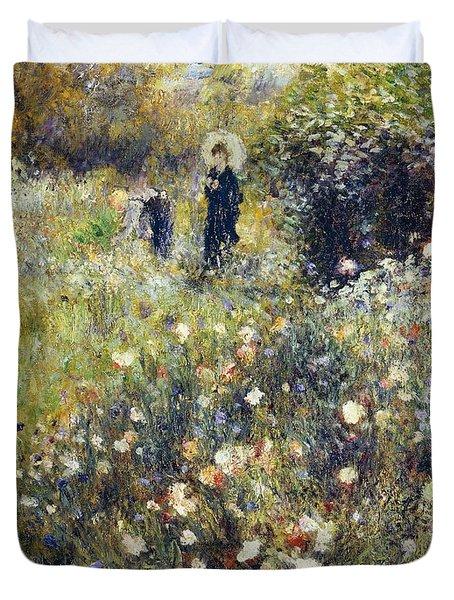 Woman With Umbrella In Garden Duvet Cover by Pierre-Auguste Renoir