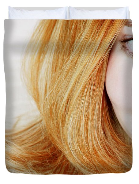 Womans Face Duvet Cover by Darren Greenwood