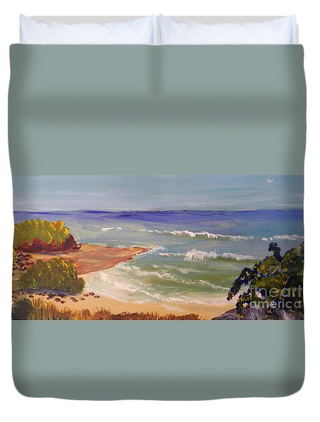 Duvet Cover featuring the painting Wombarra Beach by Pamela  Meredith