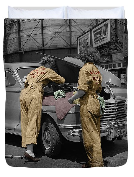 Women Auto Mechanics Duvet Cover by Andrew Fare