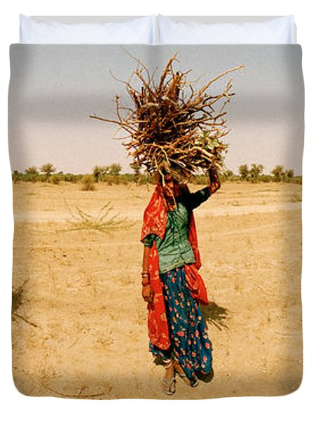 Women Carrying Firewood On Their Heads Duvet Cover