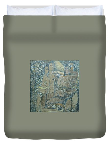 Women Chatting  Duvet Cover