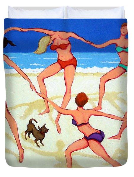 Women Dancing On Beach - Happy Dance Duvet Cover