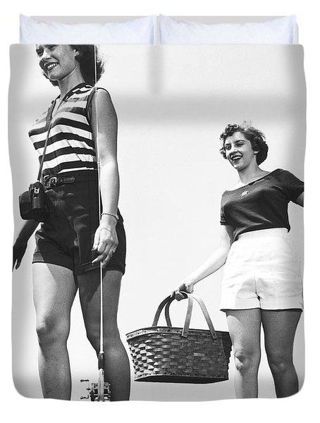 Women Going Fishing Duvet Cover
