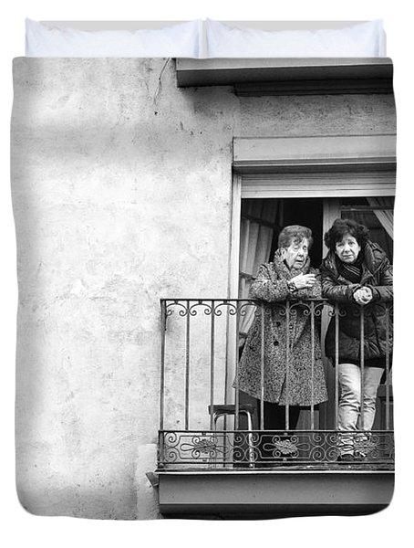Women In Balcony Duvet Cover