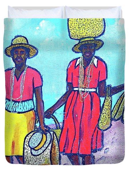 Women On Beach At Grenada Duvet Cover