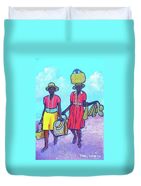 Women On Beach At Grenada Duvet Cover by Frank Hunter