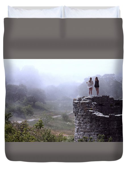 Women Overlooking Bright Foggy Valley Duvet Cover