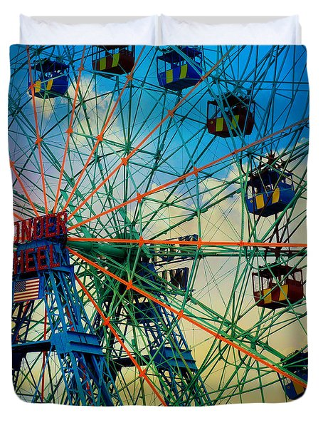 Wonder Wheel Duvet Cover by Lilliana Mendez