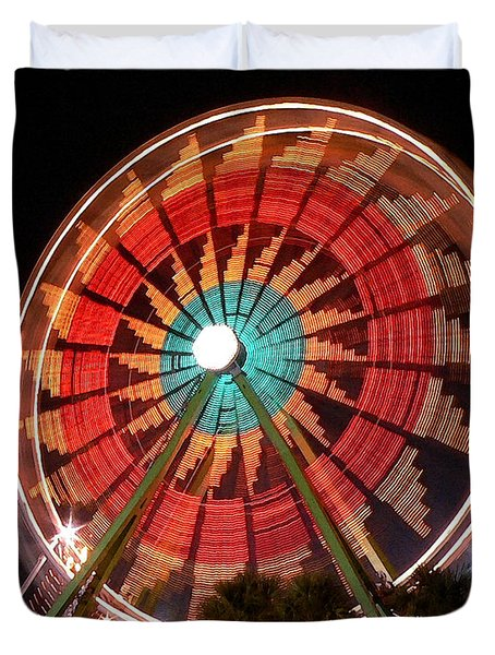 Wonder Wheel - Slow Shutter Duvet Cover by Al Powell Photography USA