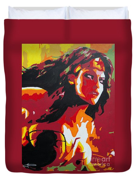 Wonder Woman - Sister Inspired Duvet Cover by Kelly Hartman