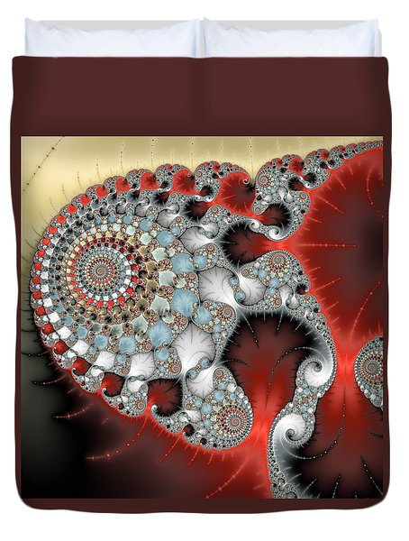Wonderful Abstract Fractal Spirals Red Grey Yellow And Light Blue Duvet Cover