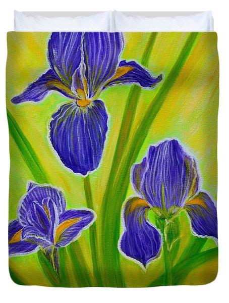 Wonderful Iris Flowers 3 Duvet Cover by Oksana Semenchenko
