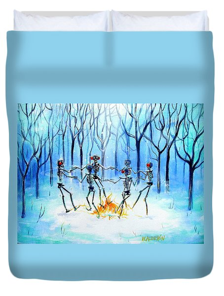 Duvet Cover featuring the painting Wonderland Ring by Heather Calderon