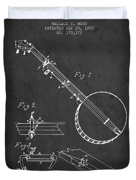 Wood Banjo Patent Drawing From 1887 - Dark Duvet Cover