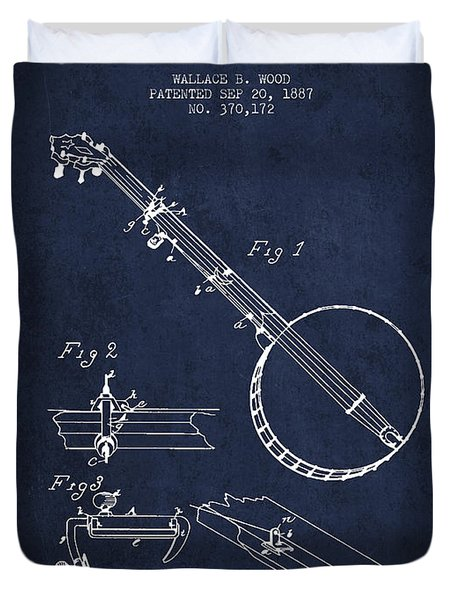 Wood Banjo Patent Drawing From 1887 - Navy Blue Duvet Cover