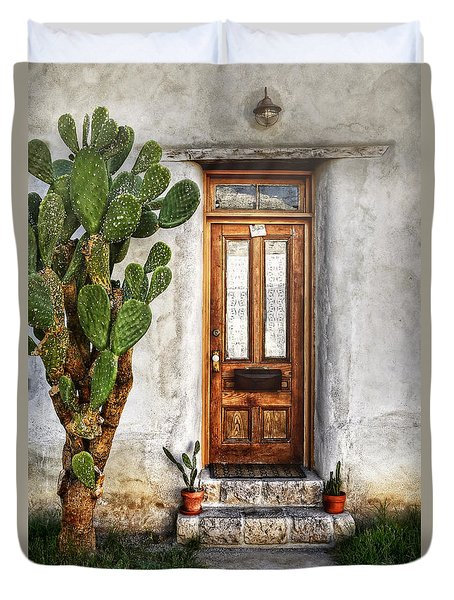 Duvet Cover featuring the photograph Wood Door In Tuscon by Ken Smith
