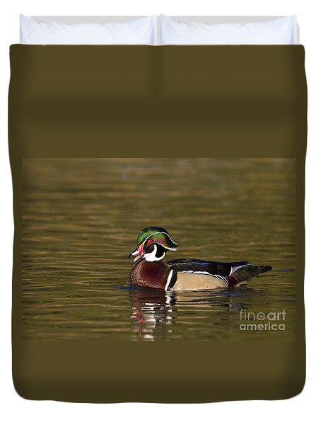 Wood Duck Calling Duvet Cover