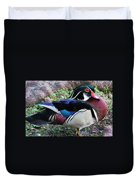 Duvet Cover featuring the photograph Wood Duck by Cynthia Guinn