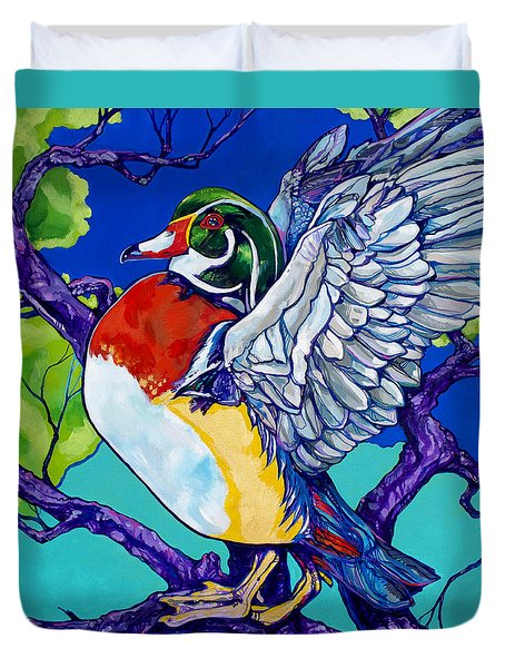 Wood Duck Duvet Cover by Derrick Higgins